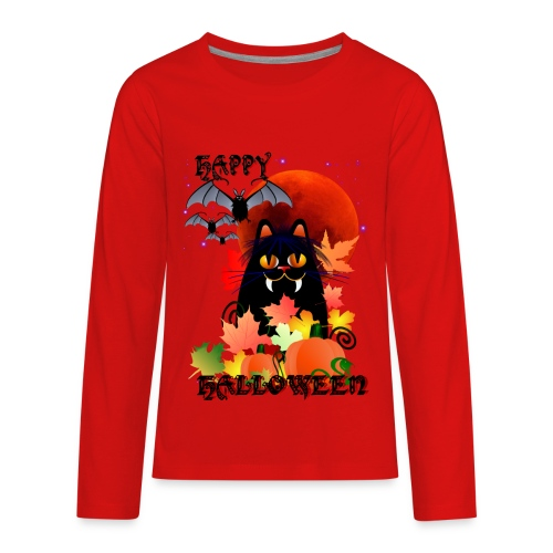Black Halloween Kitty And Bats - Kids' Premium Long Sleeve T-Shirt