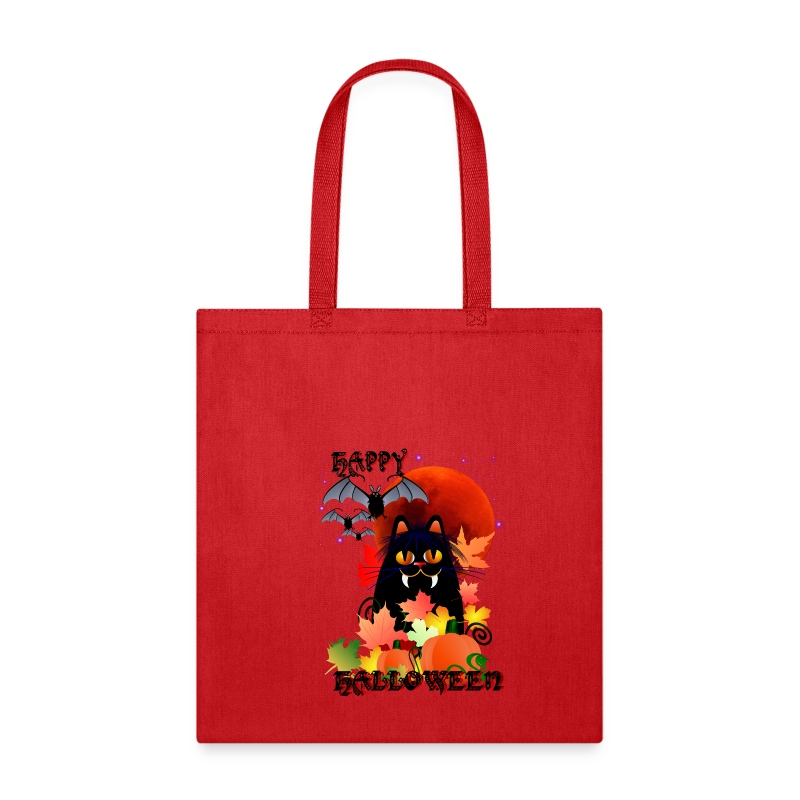 Black Halloween Kitty And Bats - Tote Bag