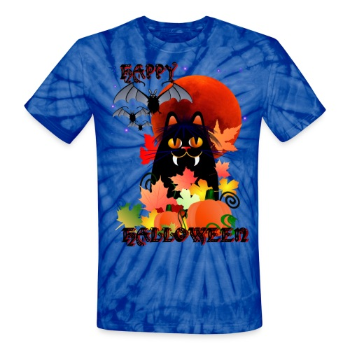 Black Halloween Kitty And Bats - Unisex Tie Dye T-Shirt