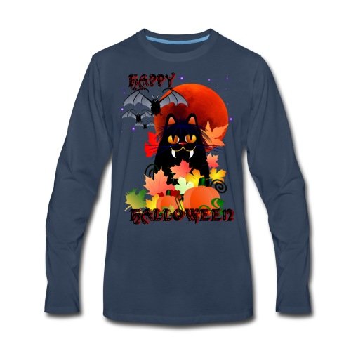 Black Halloween Kitty And Bats - Men's Premium Long Sleeve T-Shirt