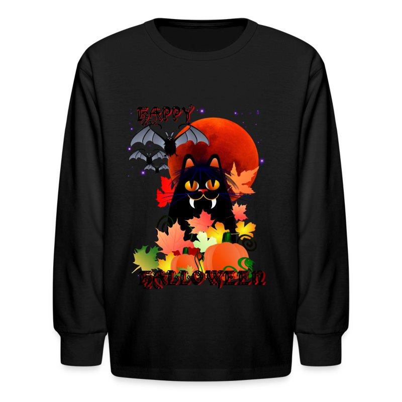 Black Halloween Kitty And Bats - Kids' Long Sleeve T-Shirt