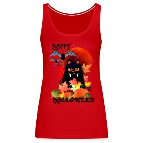 Black Halloween Kitty And Bats - Women's Premium Tank Top