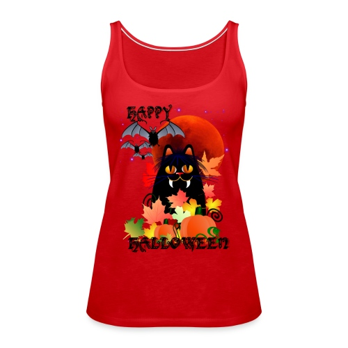Black Halloween Kitty And Bats - Women's Premium Tank Top