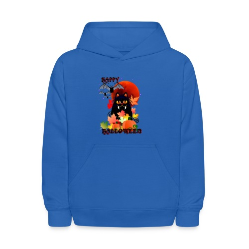 Black Halloween Kitty And Bats - Kids' Hoodie