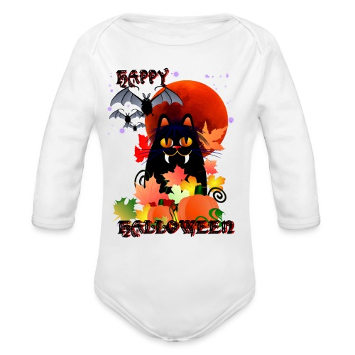 Black Halloween Kitty And Bats - Organic Long Sleeve Baby Bodysuit