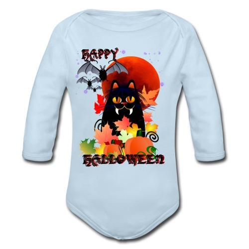 Black Halloween Kitty And Bats - Organic Long Sleeve Baby Bodysuit