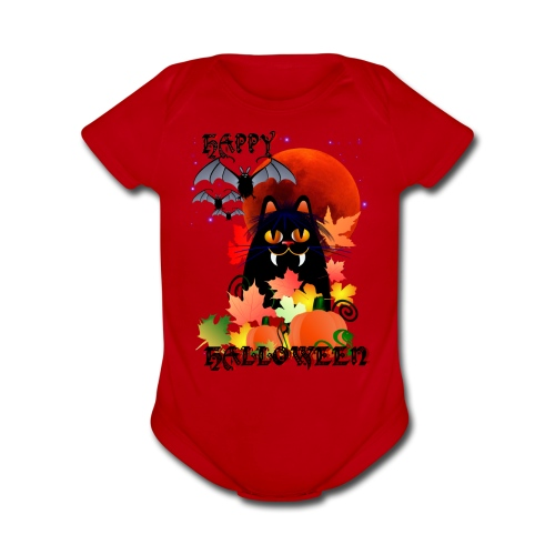 Black Halloween Kitty And Bats - Short Sleeve Baby Bodysuit