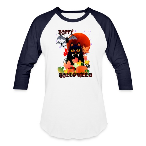 Black Halloween Kitty And Bats - Baseball T-Shirt