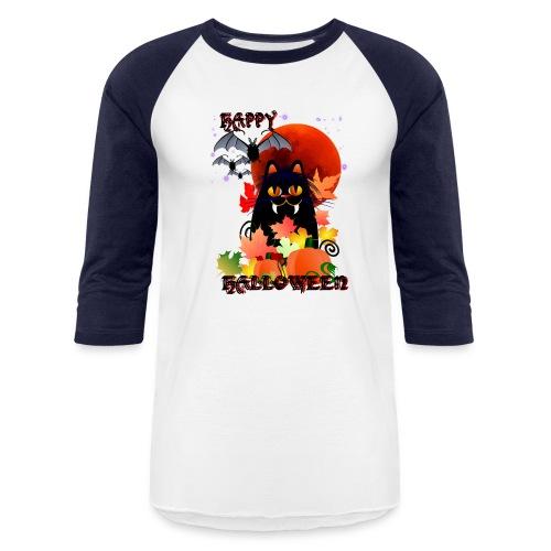 Black Halloween Kitty And Bats - Baseball T-Shirt
