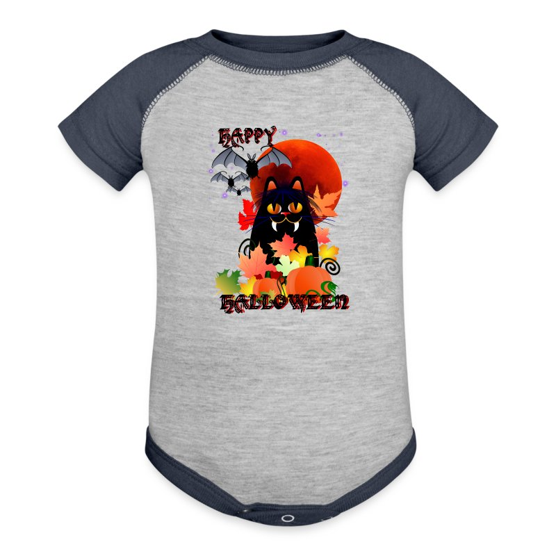 Black Halloween Kitty And Bats - Baby Contrast One Piece