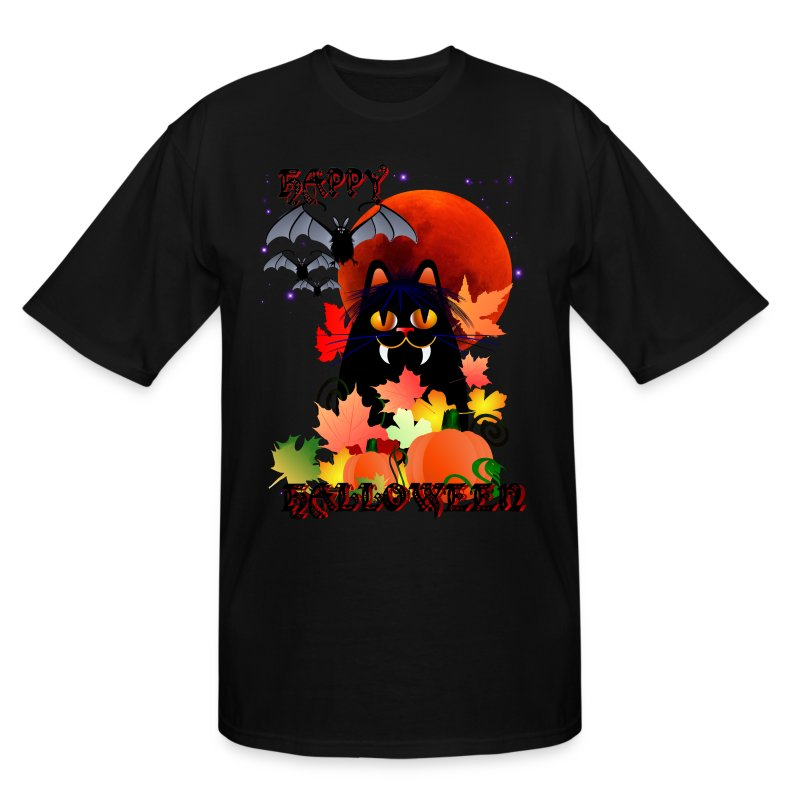 Black Halloween Kitty And Bats - Men's Tall T-Shirt