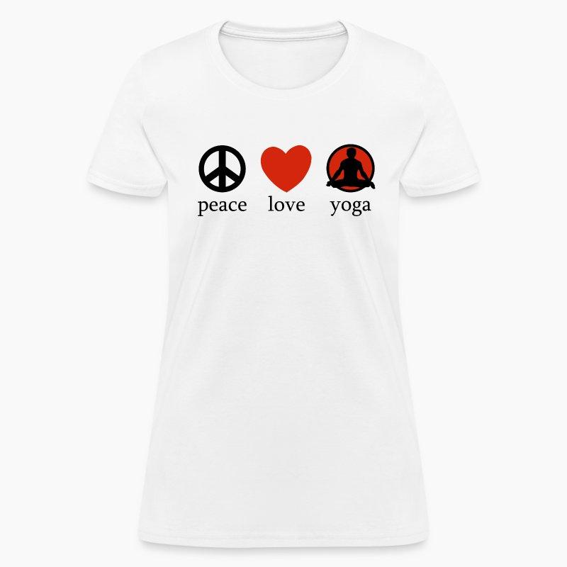 peace love yoga t shirt spreadshirt