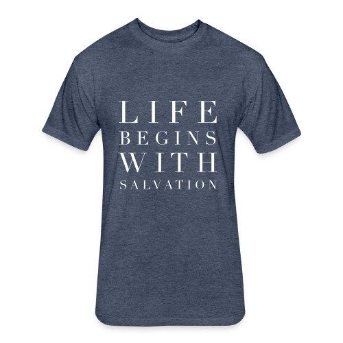 Life Begins With Salvation Men's Faith Tee - Fitted Cotton/Poly T-Shirt by Next Level