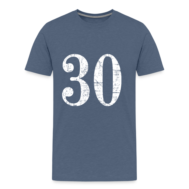 Number 30 Birthday T Shirt Ancient White