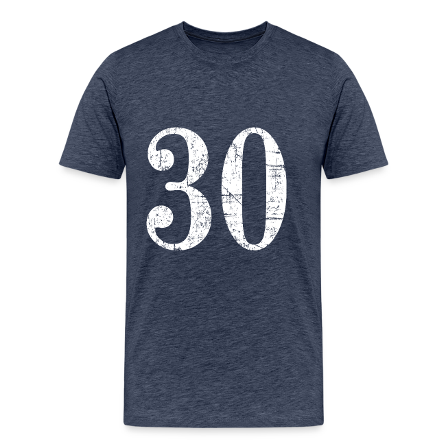 Number 30 Birthday T Shirt Ancient White