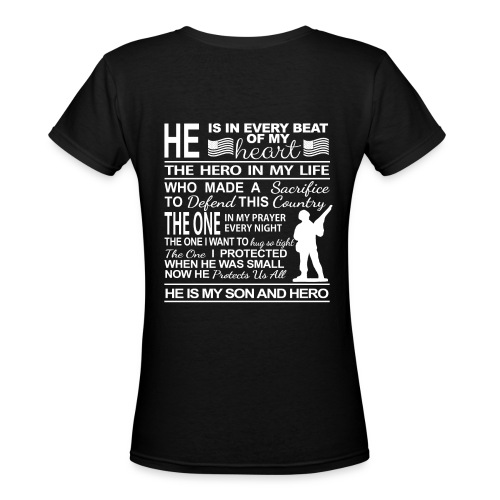 American Military Male Soldier Mom's Pride White.p Women's T-Shirts - Women's V-Neck T-Shirt