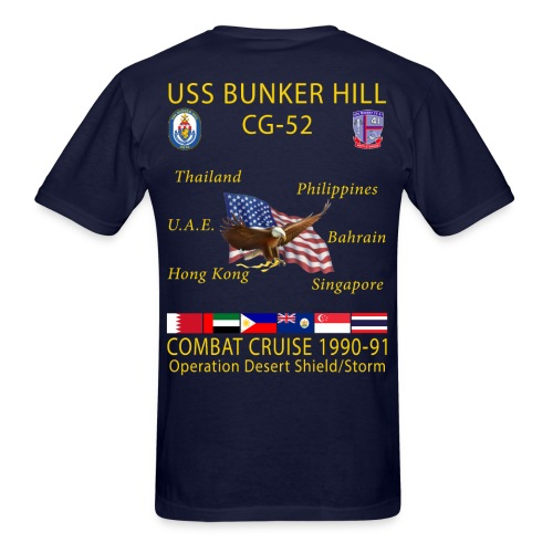 USS BUNKER HILL CG-52 1990-91 CRUISE SHIRT - Men's T-Shirt