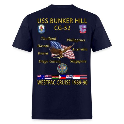 USS BUNKER HILL CG-52 1989-90 CRUISE SHIRT  - Men's T-Shirt
