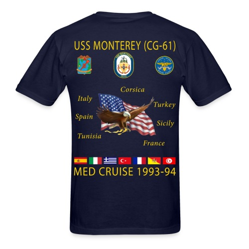 USS MONTEREY 1993-94 CRUISE SHIRT - Men's T-Shirt