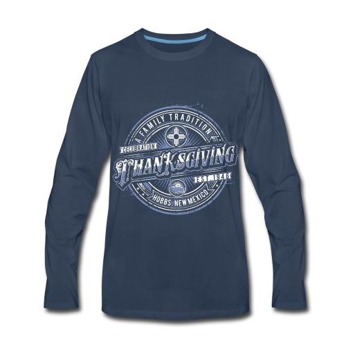 Dark Blue Long Sleeve Classic with Blue Logo - Men's Premium Long Sleeve T-Shirt