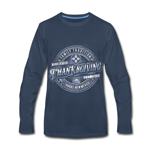 Dark Blue Long Sleeve Classic with Blue Logo - Men's Premium Long Sleeve T-Shirt