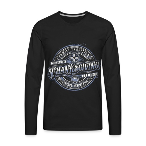 Black Long sleeved Classic with Blue highlights - Men's Premium Long Sleeve T-Shirt