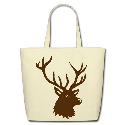 animal t-shirt stag antler cervine deer buck night hunter bachelor - Eco-Friendly Cotton Tote