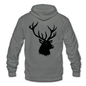 animal t-shirt stag antler cervine deer buck night hunter bachelor - Unisex Fleece Zip Hoodie by American Apparel