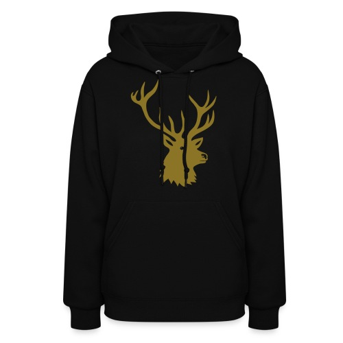 animal t-shirt stag antler cervine deer buck night hunter bachelor - Women's Hoodie