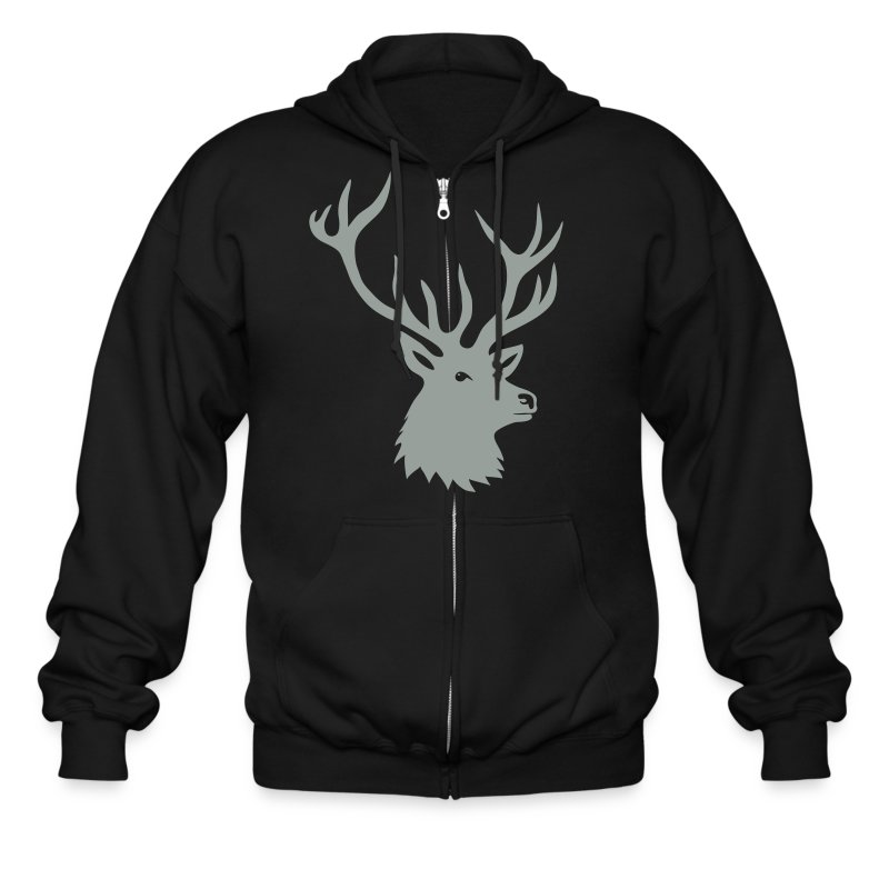 animal t-shirt stag antler cervine deer buck night hunter bachelor - Men's Zip Hoodie