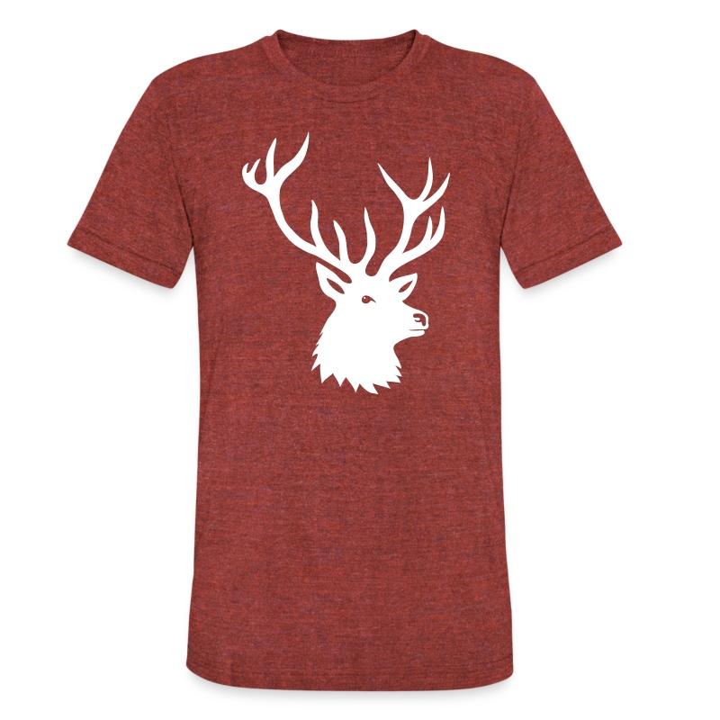 animal t-shirt stag antler cervine deer buck night hunter bachelor - Unisex Tri-Blend T-Shirt