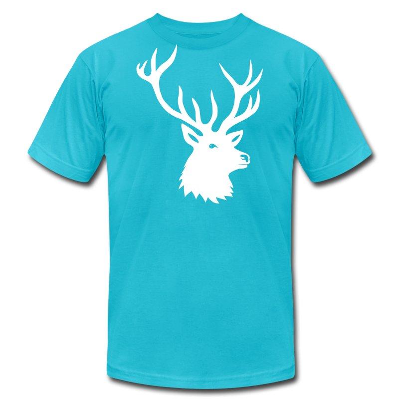 animal t-shirt stag antler cervine deer buck night hunter bachelor - Men's Fine Jersey T-Shirt