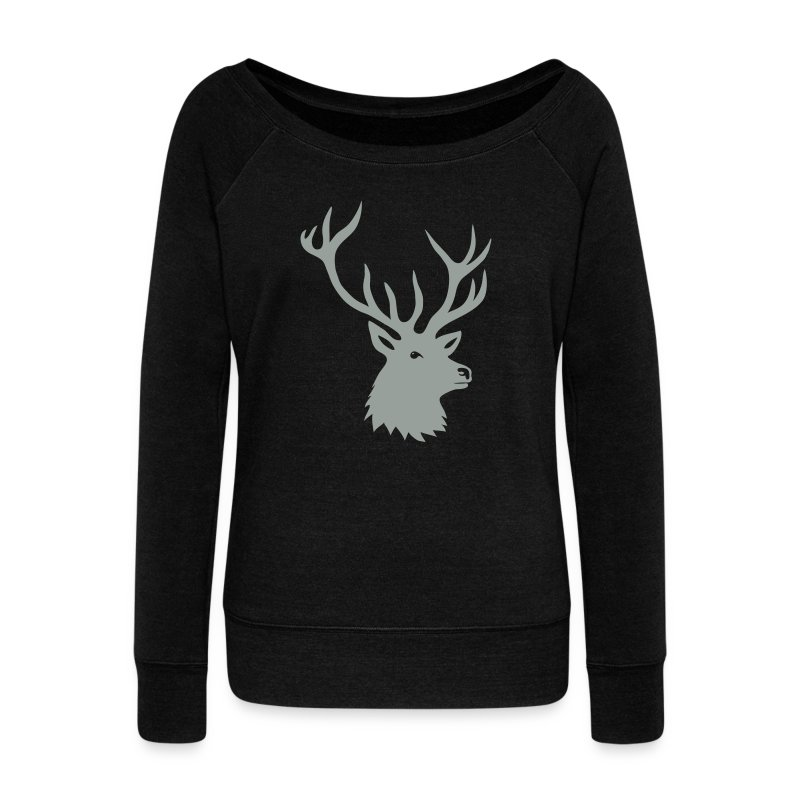 animal t-shirt stag antler cervine deer buck night hunter bachelor - Women's Wideneck Sweatshirt