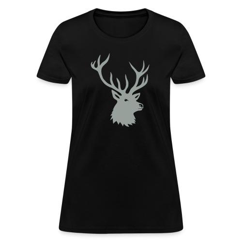 animal t-shirt stag antler cervine deer buck night hunter bachelor - Women's T-Shirt
