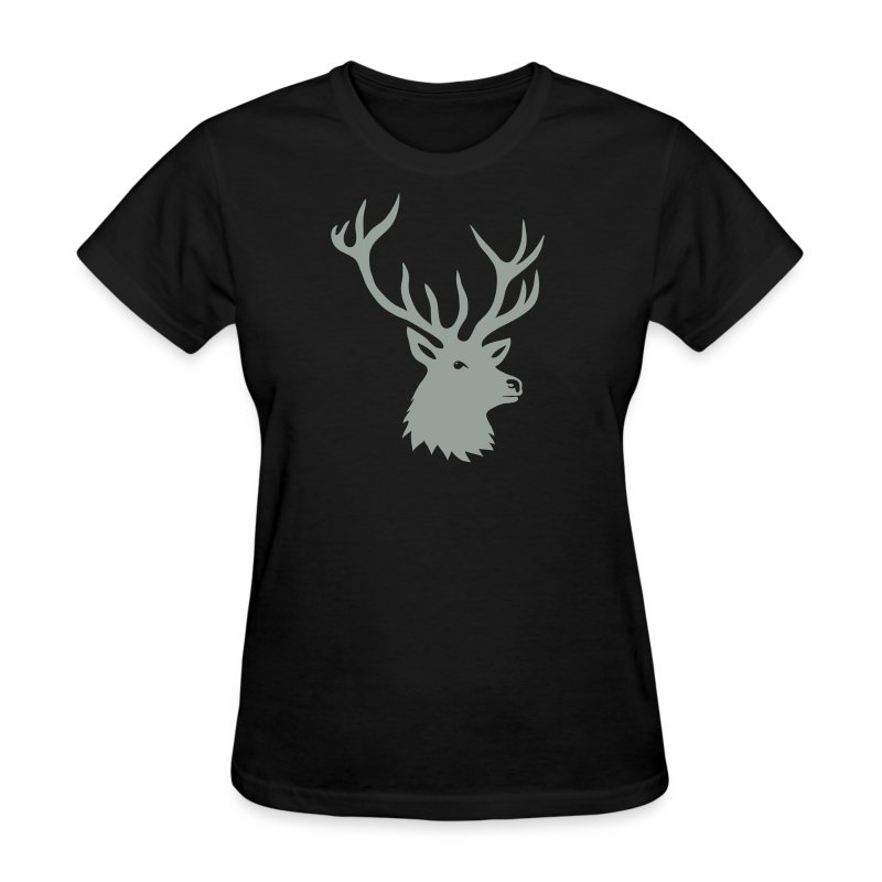animal t-shirt stag antler cervine deer buck night hunter bachelor - Women's T-Shirt