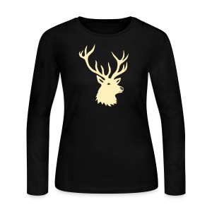 animal t-shirt stag antler cervine deer buck night hunter bachelor - Women's Long Sleeve Jersey T-Shirt