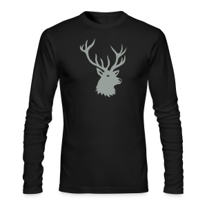 animal t-shirt stag antler cervine deer buck night hunter bachelor - Men's Long Sleeve T-Shirt by Next Level