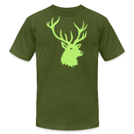T-Shirts ~ Men's T-Shirt by American Apparel ~ animal t-shirt stag antler cervine deer buck night hunter bachelor