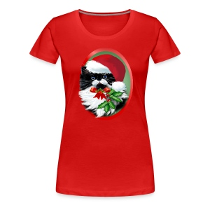 Tuxedo Kitty at Christmas - Women's Premium T-Shirt