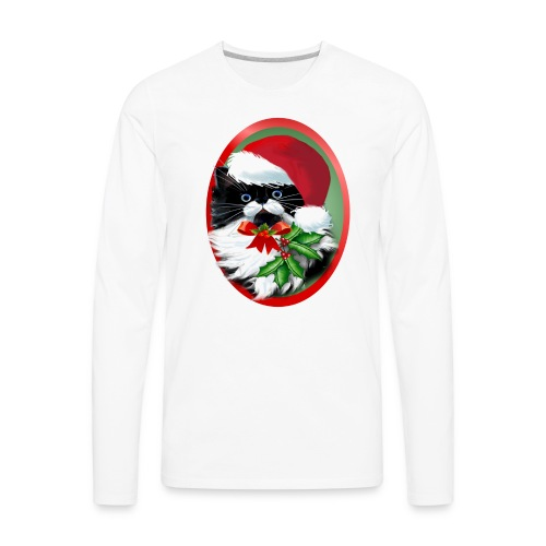 Tuxedo Kitty at Christmas - Men's Premium Long Sleeve T-Shirt