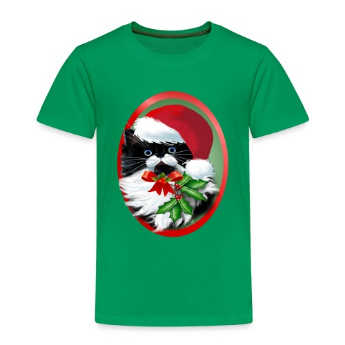 Tuxedo Kitty at Christmas - Toddler Premium T-Shirt