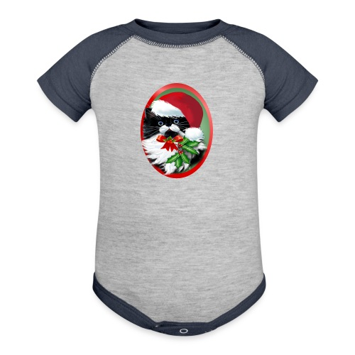 Tuxedo Kitty at Christmas - Baby Contrast One Piece