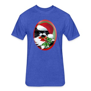 Tuxedo Kitty at Christmas - Fitted Cotton/Poly T-Shirt by Next Level
