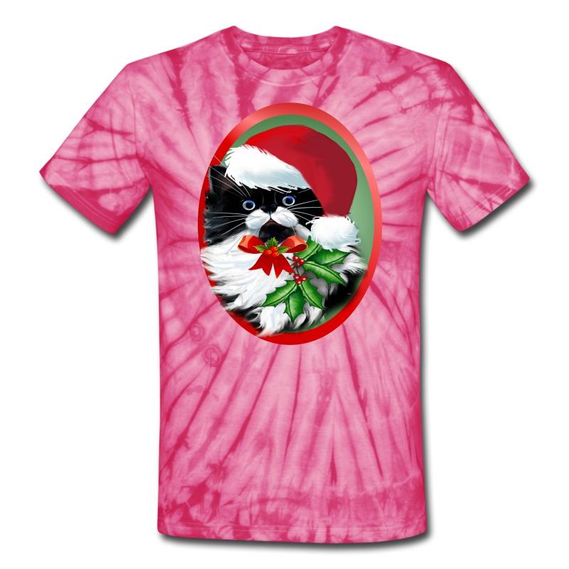 Tuxedo Kitty at Christmas - Unisex Tie Dye T-Shirt