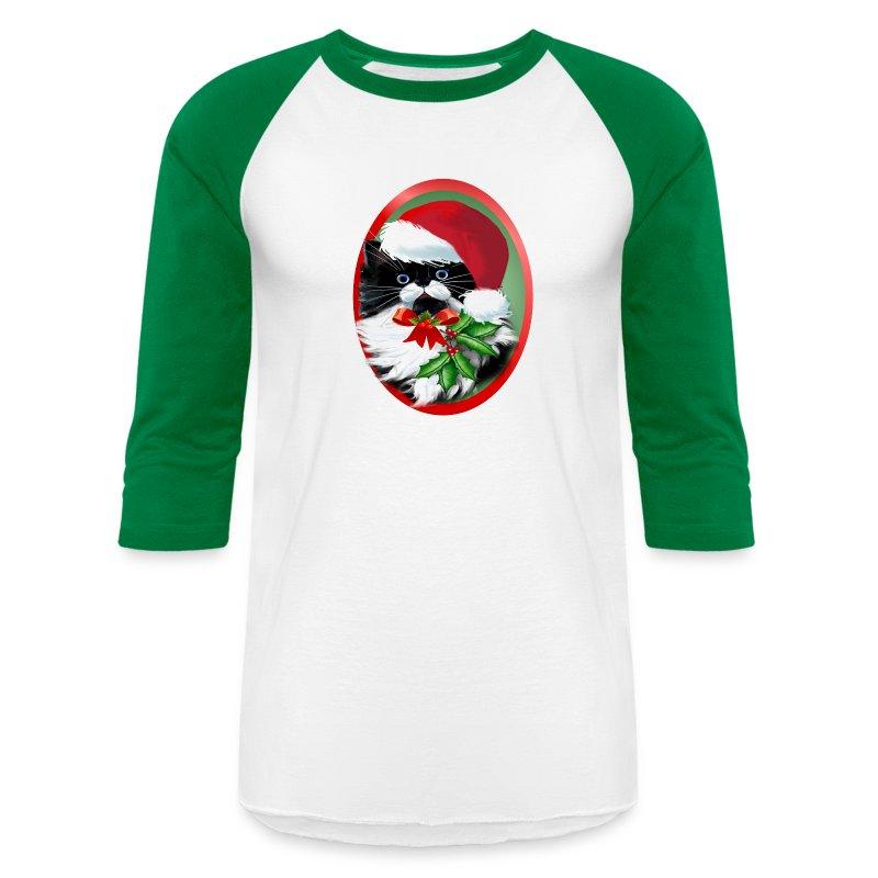Tuxedo Kitty at Christmas - Baseball T-Shirt