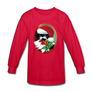 Tuxedo Kitty at Christmas - Kids' Long Sleeve T-Shirt