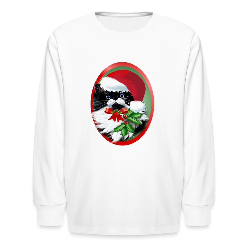 Tuxedo Kitty at Christmas - Kids' Long Sleeve T-Shirt