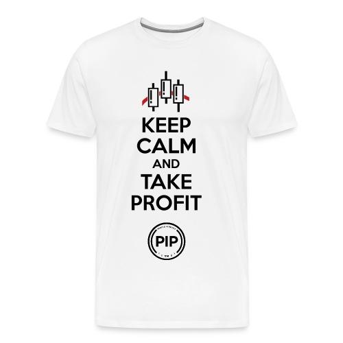PIP™ Keep Calm (White/Black w Red Accent) - Men's Premium T-Shirt