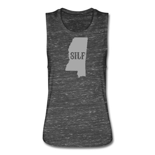 SILF from Mississippi Silver Glitter on Black Marble - Women's Flowy Muscle Tank by Bella