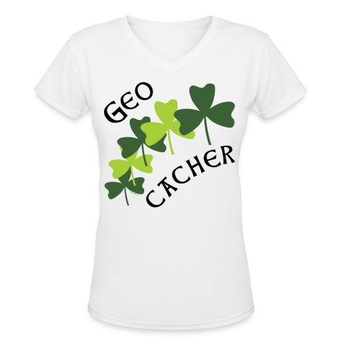Geocacher Shamrocks - Women's V-Neck T-Shirt